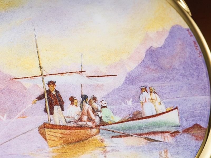 Este cuadro es la inspiración de este reloj. Se Partie de plaiser sur le lac (1889) y es del artista suizo Fracçois Bocion