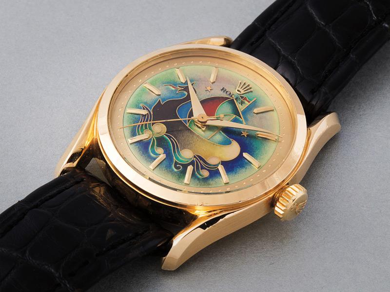 Reloj muy raro con carátula con esmalte cloisonné hecho por Stern Frères. Vendido por 1,235,000 dólares. Un precio récord para esta referencia y para un Rolex con esmalte cloisonné.