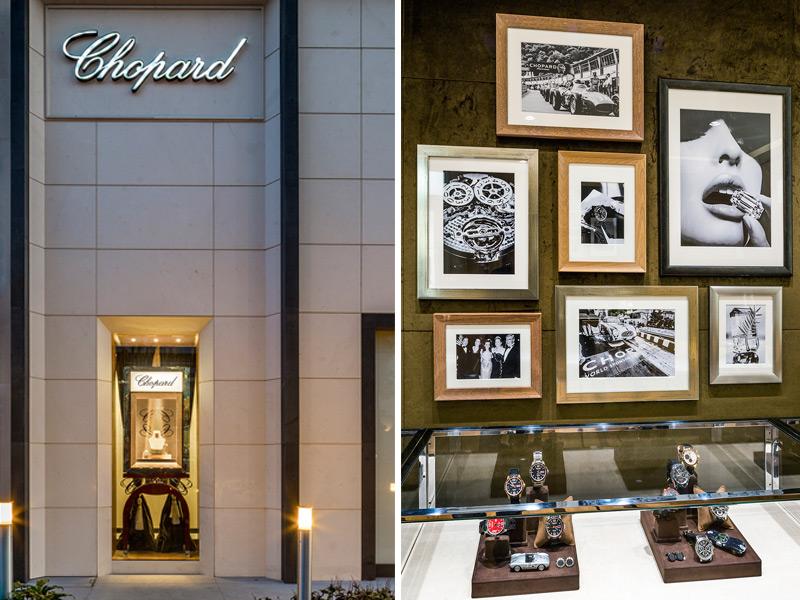 Izquierda: La boutique vista desde Masaryk, la avenida de lujo por antonomasia de la CIudad de México. Derecha: el área de relojería masculina.