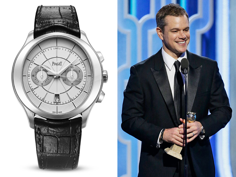 Matt Damon, ganador de un premio por su papel en The Martian, podía ver la hora en la gala gracias a un Piaget Gouverneur Chronograph.