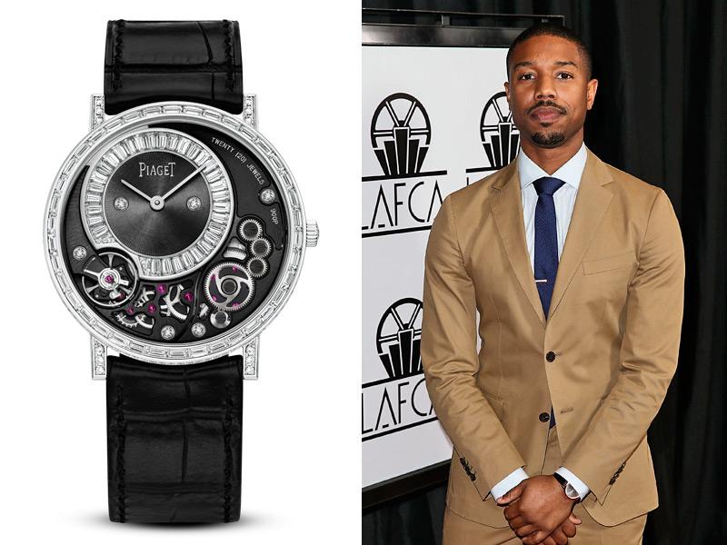 Michael B. Jordan, amigo de la firma y protagonista de Creed, fue atrevido con un Piaget Altiplano High Jewelry con 361 diamantes y movimiento manual.