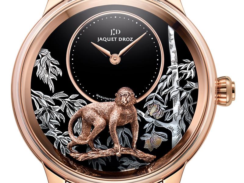 Jaquet Droz Petite Heure Minute Relief Monkey de oro rosa.