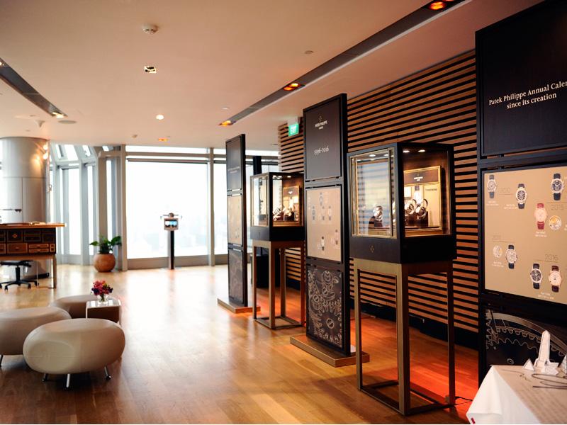 La sala VIP crea un ambiente íntimo. Incluye una biblioteca y un display de los relojes más icónicos.