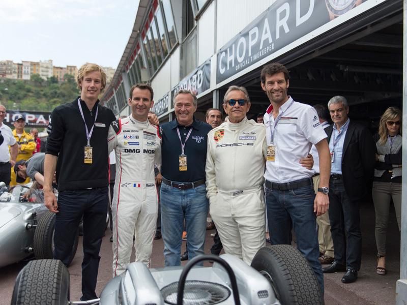 Karl-Friedrich Scheufele con Mark Webber, Brendon Hartley, Romain Dumas y Jacky Ickx.