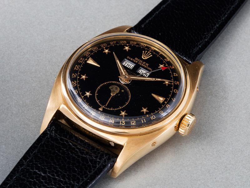 """Rolex """"Stelline"""", Ref. 6062. Oro amarillo, 36 mm, automático, cal. 9 3/4''', 19 rubíes. De 1950. Precio estimado: 512,000/1,024,000 dólares. Precio final: 926,000 dólares."""
