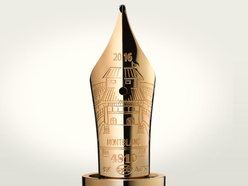 El plumín de oro tiene un grabado en homenaje al Globe Theater.