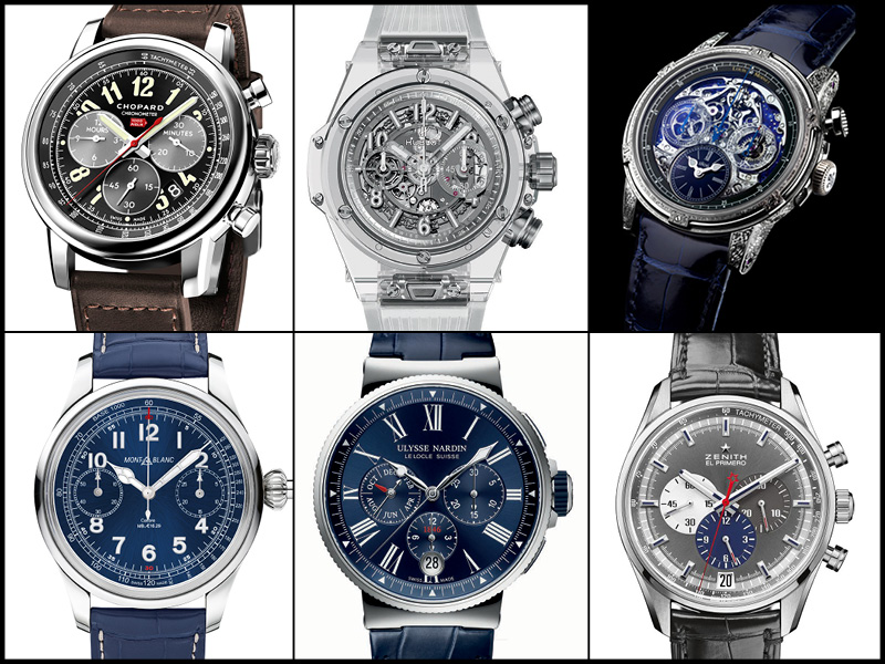Arriba: Chopard Mille Miglia 2016 XL Race Edition; Hublot Big Bang Unico Sapphire; Louis Moinet Memoris Red Eclipse. Abajo: Montblanc 1858 Chronograph Tachymeter LImited Edition; Ulysse Nardin Marine Chronograph Annual Calendar; Zenith El Primero 36'000 VpH.