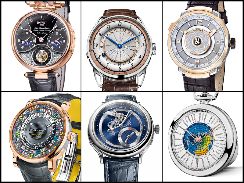 Arriba: Bovet 1822 Virtuoso VI Triple Time Zone; De Bethune DB25 World Traveller; Fabergé Visionnaire DTZ. Abajo: Louis Vuitton Escale Time Zone; Manufacture Royale 1770 Haute Voltige; Montblanc 4810 Orbis Terrarum Pocket Watch 110 Years Edition.