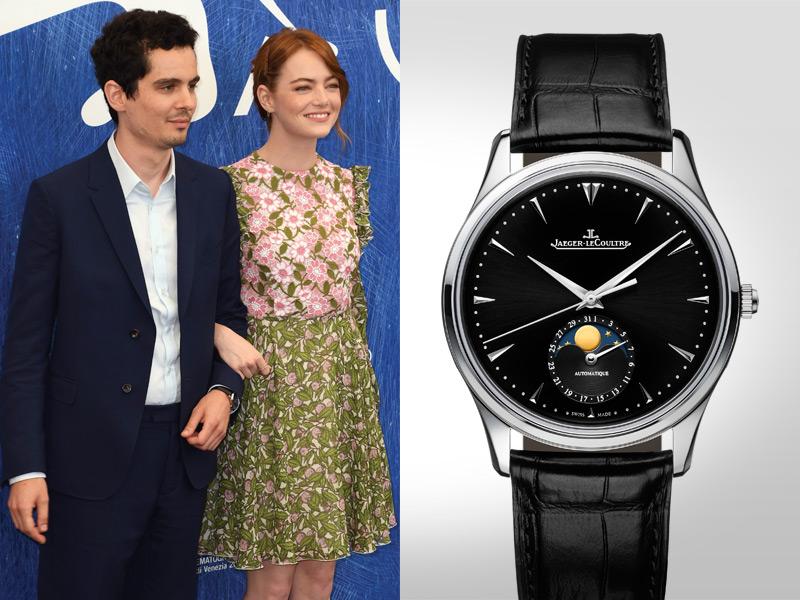 """Damien Chazelle, el Director de la película """"La La Land"""" mostrada en el opening de la noche decidió vestir un reloj Jaeger-LeCoultre Master Ultra Thin Moon."""