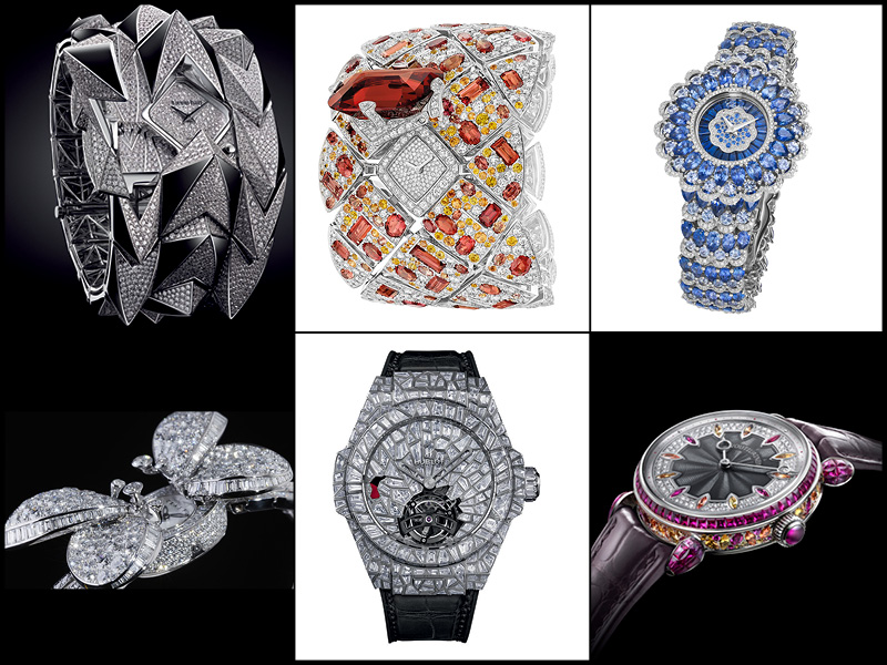 Arriba: Audemars Piguet Diamond Fury; Chanel Watch Signature Grenat; Chopard Precious Watch. Abajo: Graff Princess Butterfly, Hublot Big Bang Impact Bang; Voutilainen Scintillante.