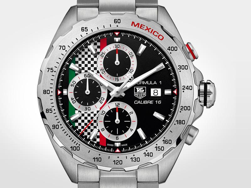 Limitado a 300 piezas, disponibles sólo en México. Este reloj rinde homenaje al recientemente recuperado Gran Premio de la Ciudad de México perteneciente a la Fórmula 1. Caja de acero de 44 mm, cristal de zafiro y sumergible 200 m. Índices colocados a mano.