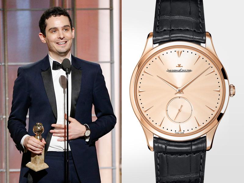 Damien Chazelle, ganador del Golden Globe a Mejor Director por La La Land, alzó el premio con un Master Grande Ultra Thin en su mano.
