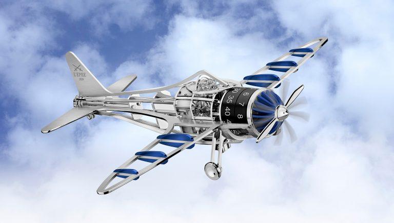 El relo avión de L'Epée en version acero y azul
