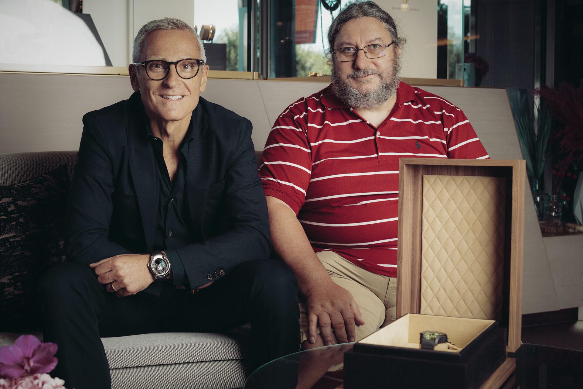 Maurizio Mazzocchi, CEO de Purnell, y el maestro relojero Eric Coudray